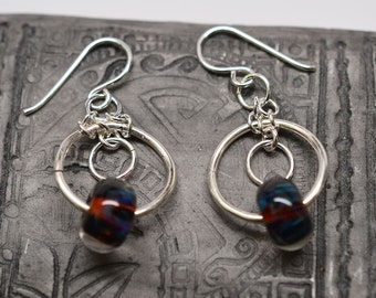 Sterling silver filled chainmaille boro glass dangle french wire hoop earrings