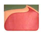 Scarlet Peach Olive Retro Magma Vinyl / Cotton Wallet