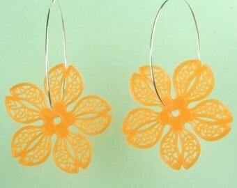 Vintage Orange Vinatge Lucite Flower Earrings