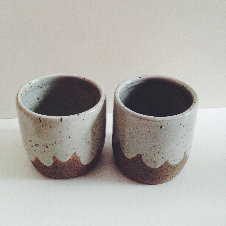 Handleless coffee mugs pair of white ceramic cloud cups wheel thrown ceramic - Handleless coffee mugs ...