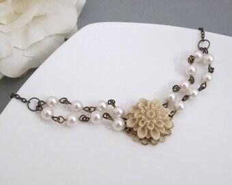 Spring Floral Bracelet. Almond Dahlia. Big flower. Swarovski Pearls Antiqued Bronze Bracelet. Floral Bridesmaid Bridal Wedding Jewelry