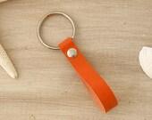 Orange Key Fob, Leather Key Fob, Orange Leather, Orange Keychain, Bright Summer Key Fob, Leather Loop Key Ring, Orange Accessory