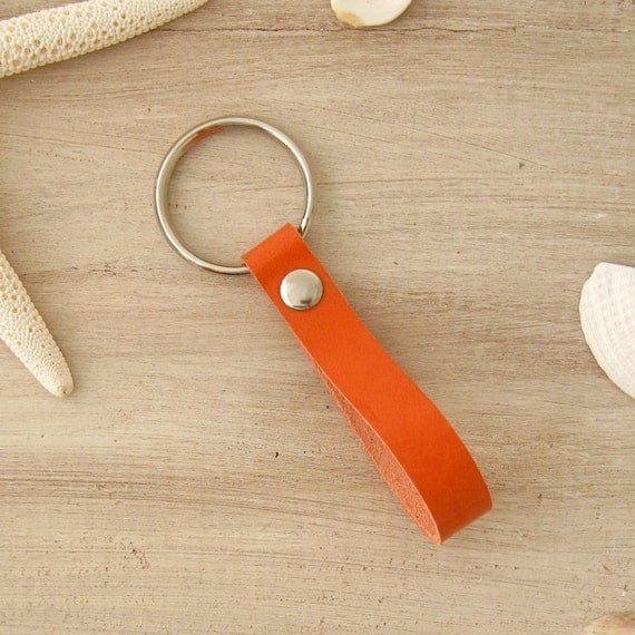 Orange Key Fob, Leather Key Fob, Orange Leather, Orange Keychain, Bright Summer Key Fob, Leather Loop Key Ring, Orange Accessory