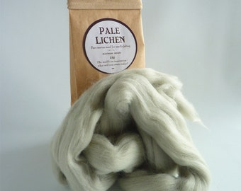 Grey green merino roving, 25g (1oz) Pale Lichen, 21 micron, merino roving, merino tops, felting wool, needle felt wool, wet felting