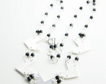 Matte Metallic Chevron Necklace with Black Wire-Wrapped Glass Beads (N52)
