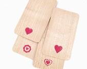Mini Wood Veneer Valentine Cards/Stationery - Hearts set of 4