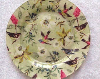 Designer Decoupage Plate Birds