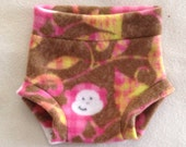 Pink and Brown Monkey Anti Pill Diaper Cover