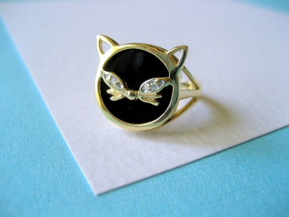 10kt Gold And Black Onyx Retro Cat Ring With Genuine Diamond