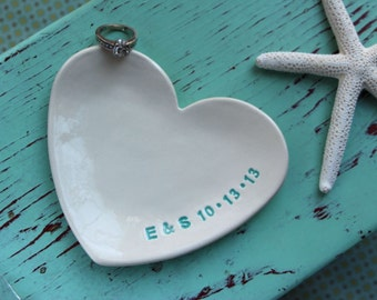 RESERVED FOR MARY Custom Heart Dish for Engagement Ring, Personalized Heart Dish for Wedding Ring, Heart Shaped Ring Dish