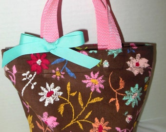 Brown and PInk Little Girl Purse/Gift Bag/Tote