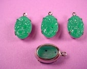 4 Vintage Jade green  Glass floral  molded carved Oval Cabochons prong silver setting 14x10