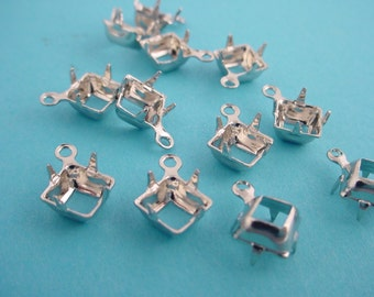 Silver Tone Square Prong Settings 6mm 1 Ring Open Backs