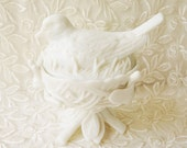 White Milk Glass Vintage Westmoreland Robin Candy Dish, Compote