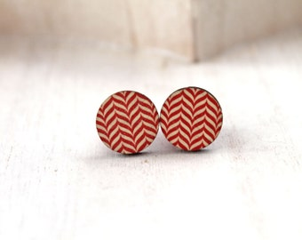 Cute little zigzag red earrings sweet lolita feminine wood chevron