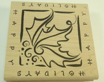 Happy Holidays Christmas Wood Mounted Rubber Stamp By M Denami Design