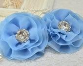 Set of 3pcs handmade chiffon flowers--blue (FB1011)