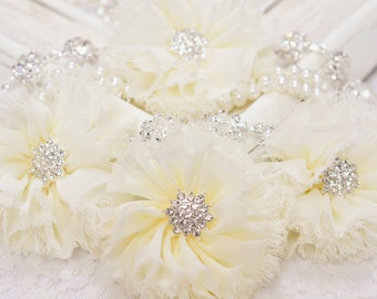 New! 2pcs Handmade soft shabby chiffon flowers--ivory (FB1047)