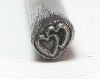 2 Hearts Together steel Design stamp for jewelry stamping 5x5mm