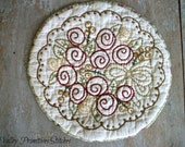 Rose Bouquet  Candle Mat, Hand Stitched, Red Roses, SCOFG
