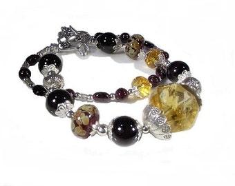 Citrine and Garnet Bracelet (Sarsaparilla)  by Gonet Jewelry Design