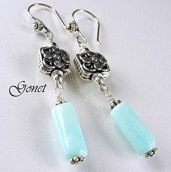 Blue Opal Earrings Azure Blue Coral Reef Collection By