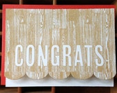 letterpress congrats woodgrain card