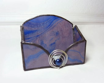 Stained Glass Business Card Holder - Cobalt Mauve