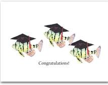 One graduation fish cards, congratulations card, fish card,  nautical graduation card.