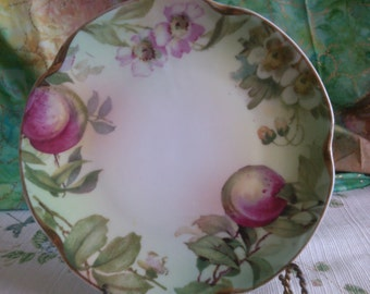 Peaches and Blossoms on this scolloped edge side Plate