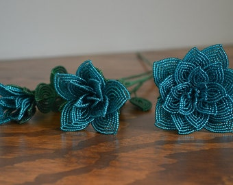 3 french beaded flowers handmade roses different sizes turquoise blue color