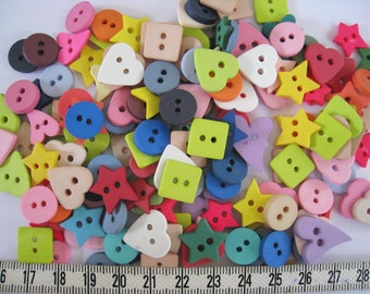 100pcs of star heart star round square  button - Fun - Green Yellow Pink Purple Beige Blue Lime Gray