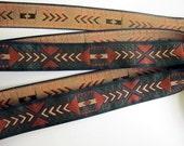 3 yards TRIBAL ARROWS medium width Jacquard trim in rust, brown, beige, green. Black edges. 3/4 inch wide. 978-A
