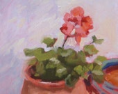 Still Life Oil Painting on Canvas:  Pink Geranium in Pot 8 x 10