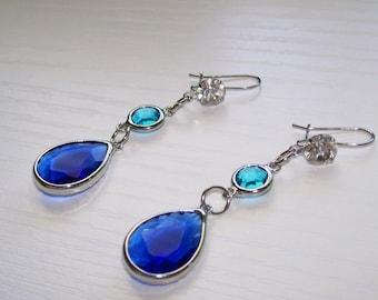 Blue Ombre Wedding Earrings