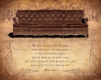 Bible Verse Art - Christian Home Decor - We Wait for the Lord - Psalm 33 Art