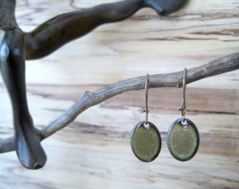 Olive Green Oval Drop Earrings, Oval Dangle Earrings, Copper Enamel, Mossy Green Oval Drop, Green Chandelier Earrings
