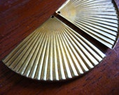 Vintage Brass Stamping, 1960s Large Ribbed or Corrugated Fan Shape Unplated Pendant or Drop Jewelry Finding, 45x32mm, 1 pc. (C15)