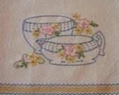Hand Embroidered - Vintage Style Tea Towel -Kitchen Towel- Flour Sack