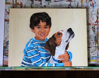 CUSTOM PAINTING of a Person and Pet