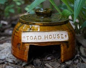 Pottery Outdoor Toad House Yard Decoration Rustic Evergreen Ready to Ship!