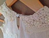 Vintage Lace Formal Dress, Flower Girl Dress, Beaded Pearls Collar, Sizes 3T - 6