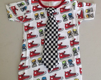 SALE: Organic Retro T-shirt or Onesie with Black and White Checkered Tie - Infant and Toddler Boys
