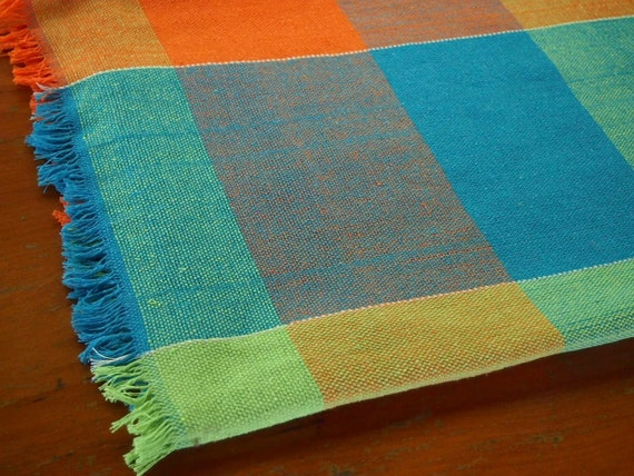Cotton Throw Utility Blanket In Orange Blue And Green Plaid