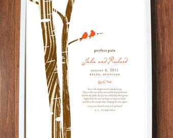 Perfect Pair Print, custom wedding print, personalized wedding gift, family tree, branch, birds, nest, wedding date, CUSTOM 8x10