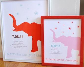 Elephant nursery print with stars, CUSTOM, 8x10
