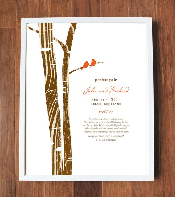 Perfect Pair Print, custom wedding print, personalized wedding gift, family tree, branch, birds, nest, wedding date, CUSTOM 8x10