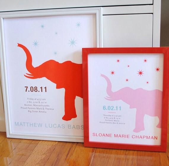 Elephant nursery print with stars, CUSTOM, LARGE