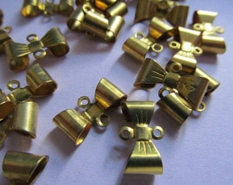 Vintage Raw Brass Bow Connectors (6) Perfect for Earrings
