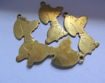 Vintage Brass Charms Beads Pendant Findings Snoopy (2)